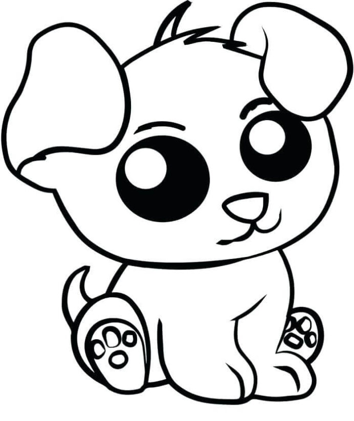kawaii puppy coloring free printable for kids top colors crayola phone number egyptian coloring pages Puppy Coloring Page