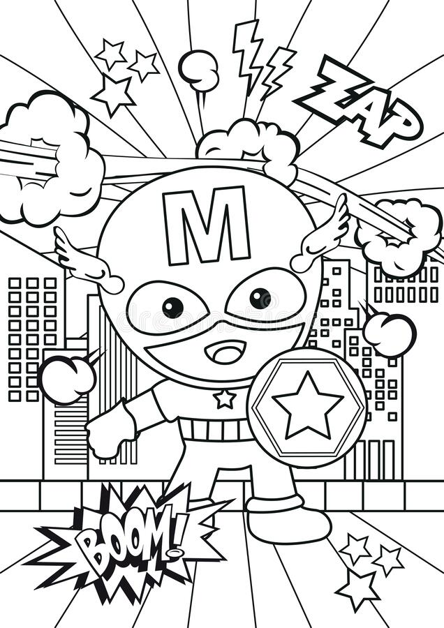 kids coloring with cute superhero stock vector illustration of line activity print paint coloring pages Superhero Coloring Page