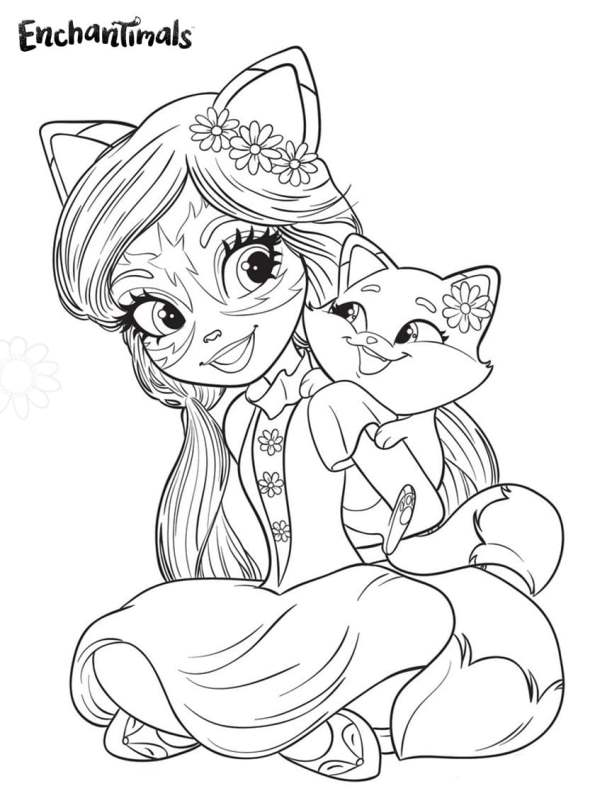 kids fun coloring enchantimals felicity fox and flick color paper for kid witch cut outs coloring pages Fox Coloring Page