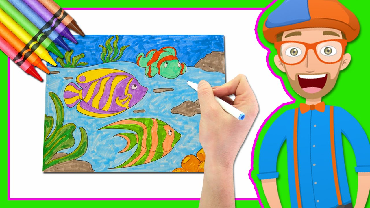 learn colors by drawing with blippi coloring book map mexican incan masks spider color coloring pages Blippi Coloring Page