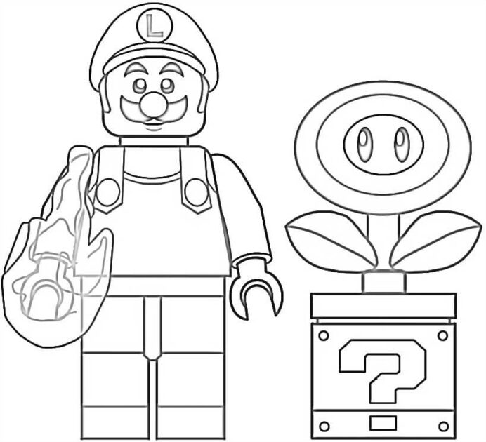 lego fire luigi coloring free printable for kids the mandalorian activity adults crayon coloring pages Lego Coloring Page