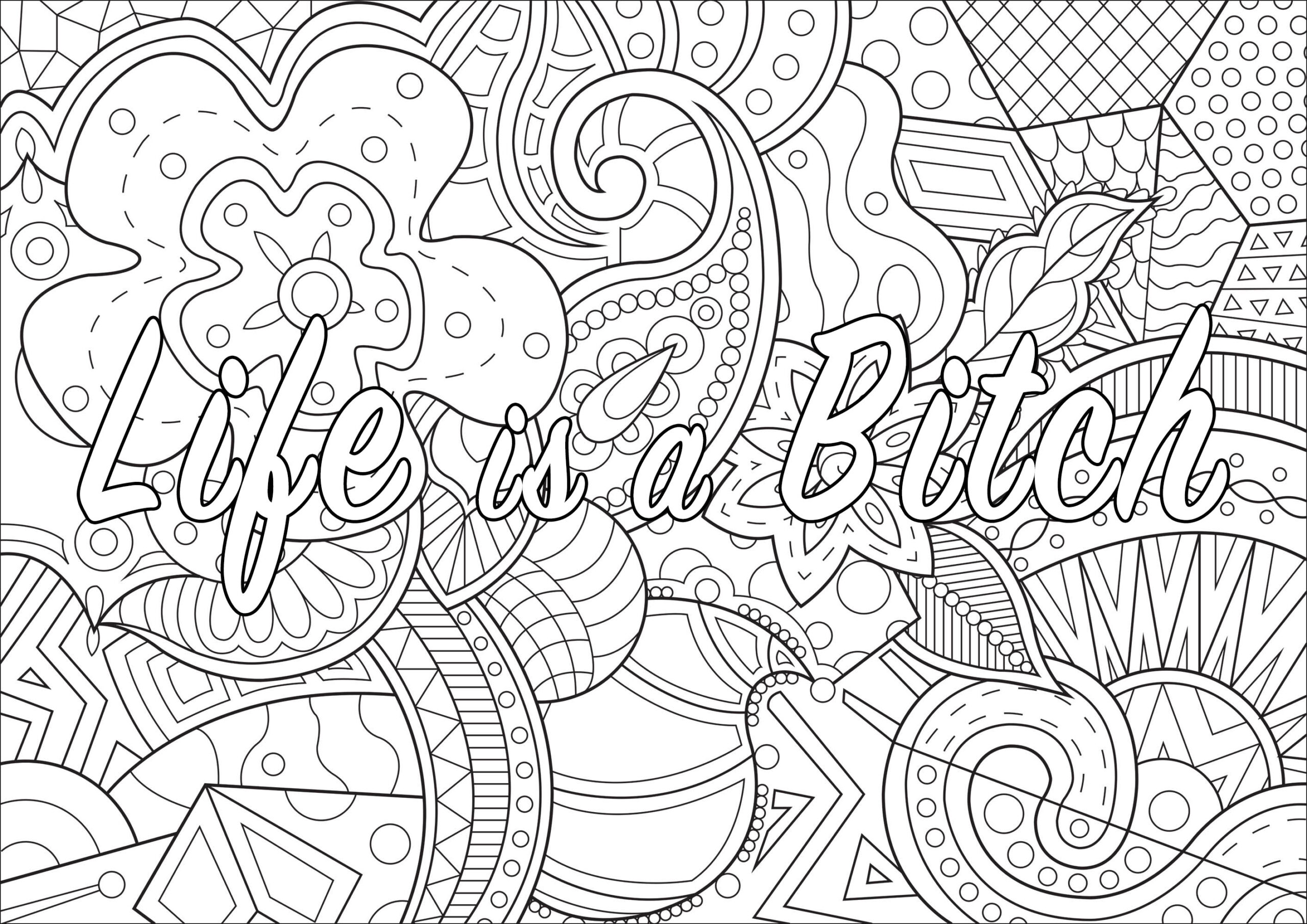 life is swear word coloring adult curse words hot pink magenta sheets for girls cursive coloring pages Curse Word Coloring Page
