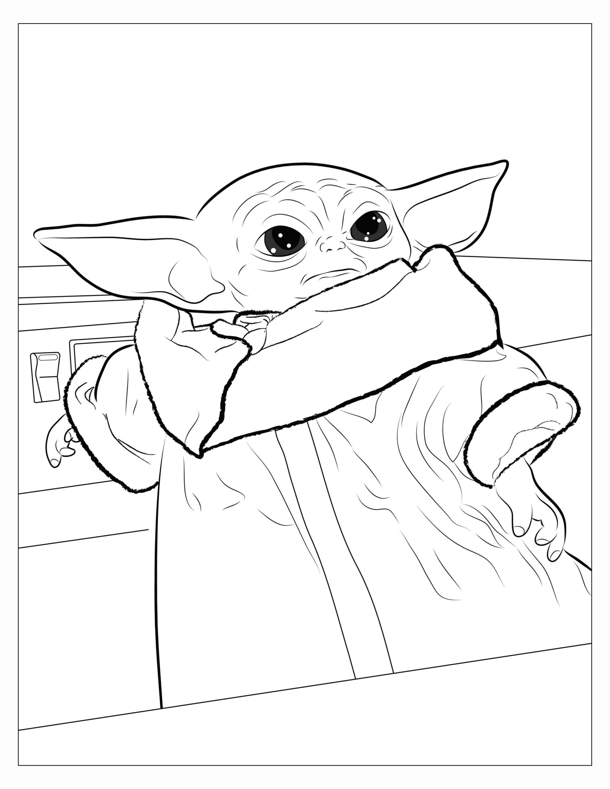 made coloring book for my niece and here are you can print babyyoda baby yoda grogu in coloring pages Baby Yoda Coloring Page