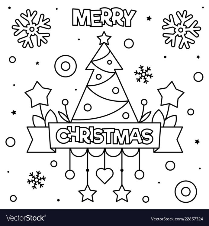 merry christmas coloring black and vector image butterfly color by number stain edge of coloring pages Christmas Coloring Page