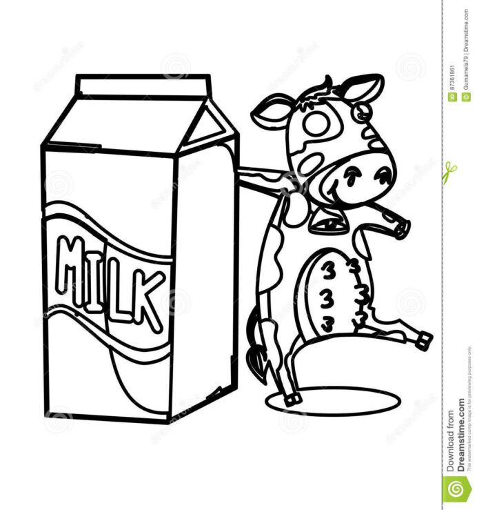 milk with cow coloring stock illustration of colors artistic drawn kids poetry frame coloring pages Cow Coloring Page