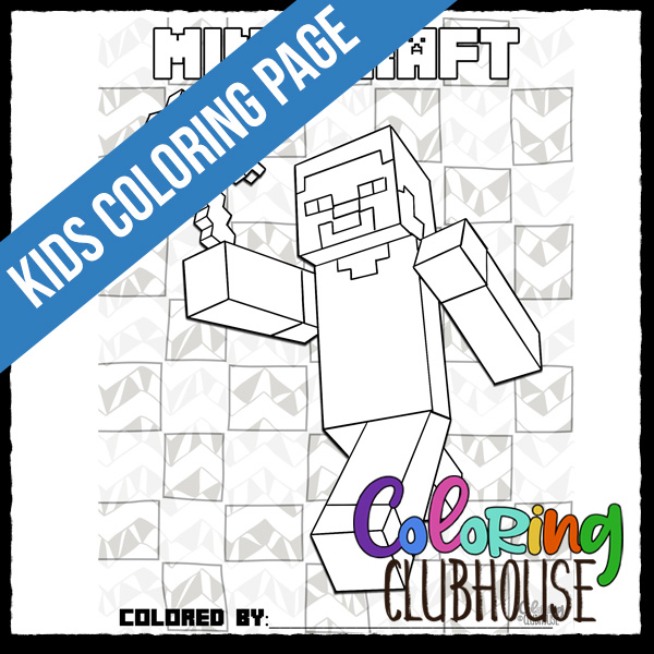 minecraft steve coloring clubhouse scents that rhyme with you adult easter crafts coloring pages Minecraft Steve Coloring Page