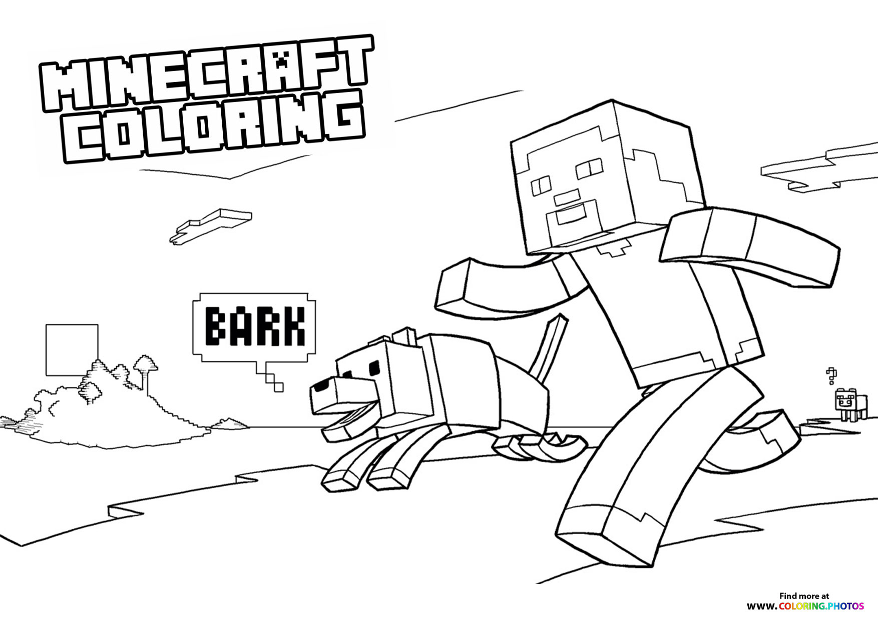 minecraft steve with dog coloring for kids character nativity scene sheet turtle drawing coloring pages Coloring Page Minecraft