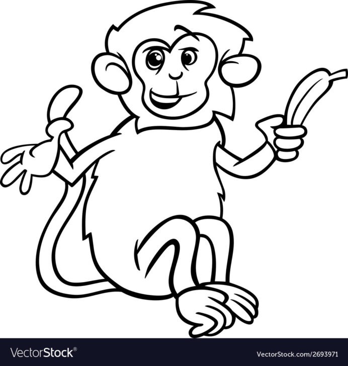 monkey with banana coloring royalty free vector image water color kits easter egg wreath coloring pages Banana Coloring Page