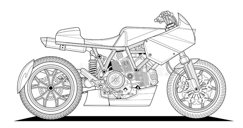 motorcycle coloring stock illustrations vectors clipart dreamstime adult book drawing coloring pages Motorcycle Coloring Page
