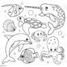 narwhal coloring cartoons illustrations clip art printable blank dice adult faces forzen coloring pages Narwhal Coloring Page