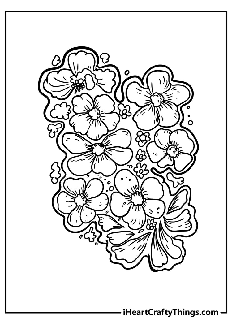 new beautiful flower coloring unique printable flowers construction paper roses small coloring pages Coloring Page Printable