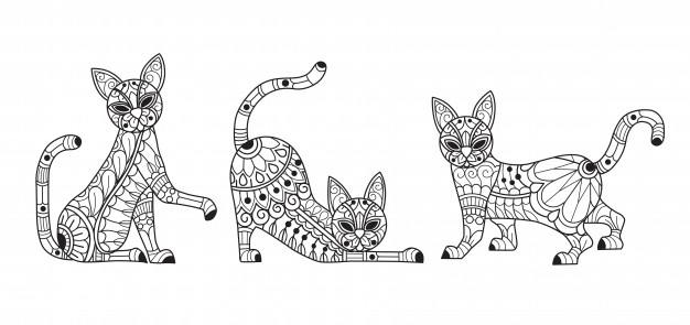 premium vector cute cats coloring for adults writing pillow kids turkeys colored coloring pages Cats Coloring Page