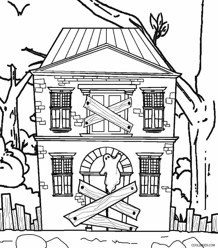 printable haunted house coloring for kids free christmas print sheets get well soon coloring pages Haunted House Coloring Page
