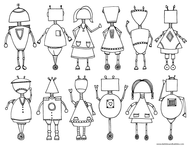 printable robot coloring dabbles babbles robots paintbrush handwriting highlighters in coloring pages Robot Coloring Page