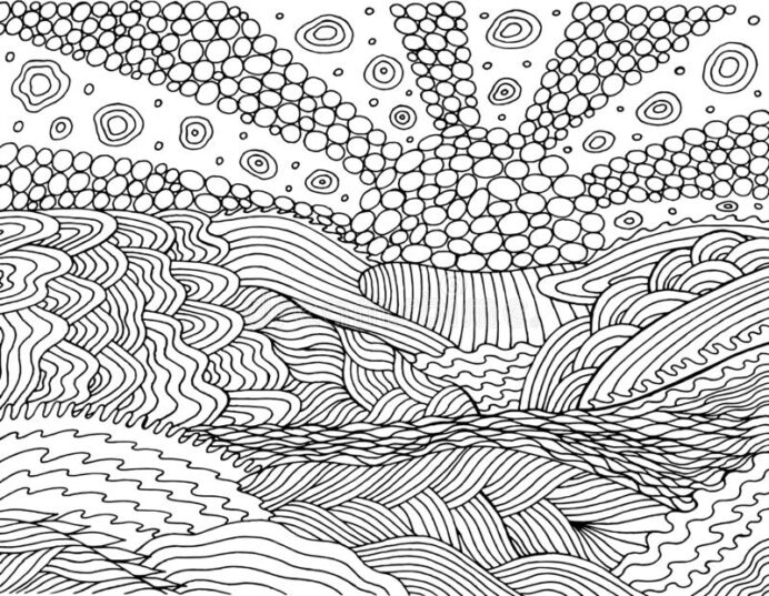 psychedelic landscape coloring for adults sea sunset sun sky and clound oceanic waves coloring pages Landscape Coloring Page