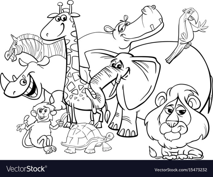 safari animals coloring royalty free vector animal thanksgiving kids color book for pdf coloring pages Animal Coloring Page