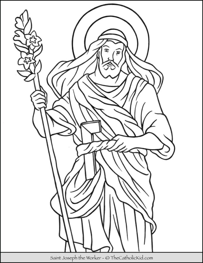 saint joseph the worker coloring thecatholickid cnt mls most diverse colored pencils coloring pages Joseph Coloring Page