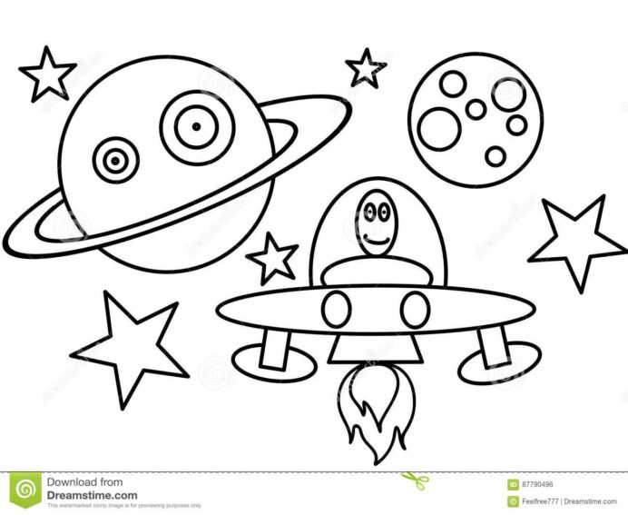 space ship high quality coloring stock illustration of star drawing kids artustic you can coloring pages Space Ship Coloring Page