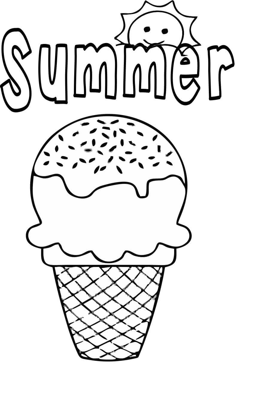 summer ice cream coloring free printable for kids cones pens with highlighters pour and coloring pages Ice Cream Cones Coloring Page
