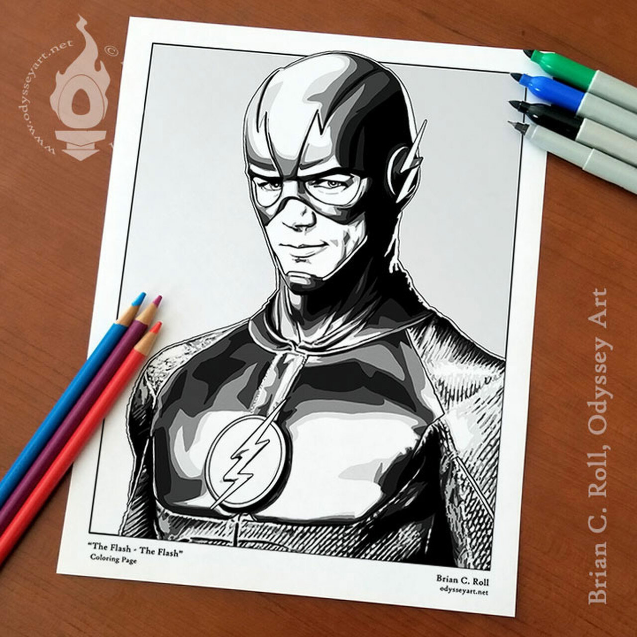 the flash coloring odyssey art of brian roll 8x11coloringpage store2 moana printable coloring pages The Flash Coloring Page