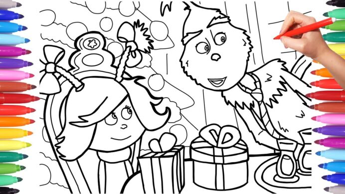 the grinch stole christmas coloring for kids new best outlining with black marker ariel coloring pages Grinch Coloring Page