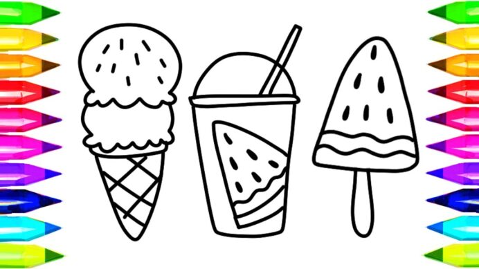to draw watermelon juice coloring kids songs learn drawing art colours for children coloring pages Coloring Page For Kids
