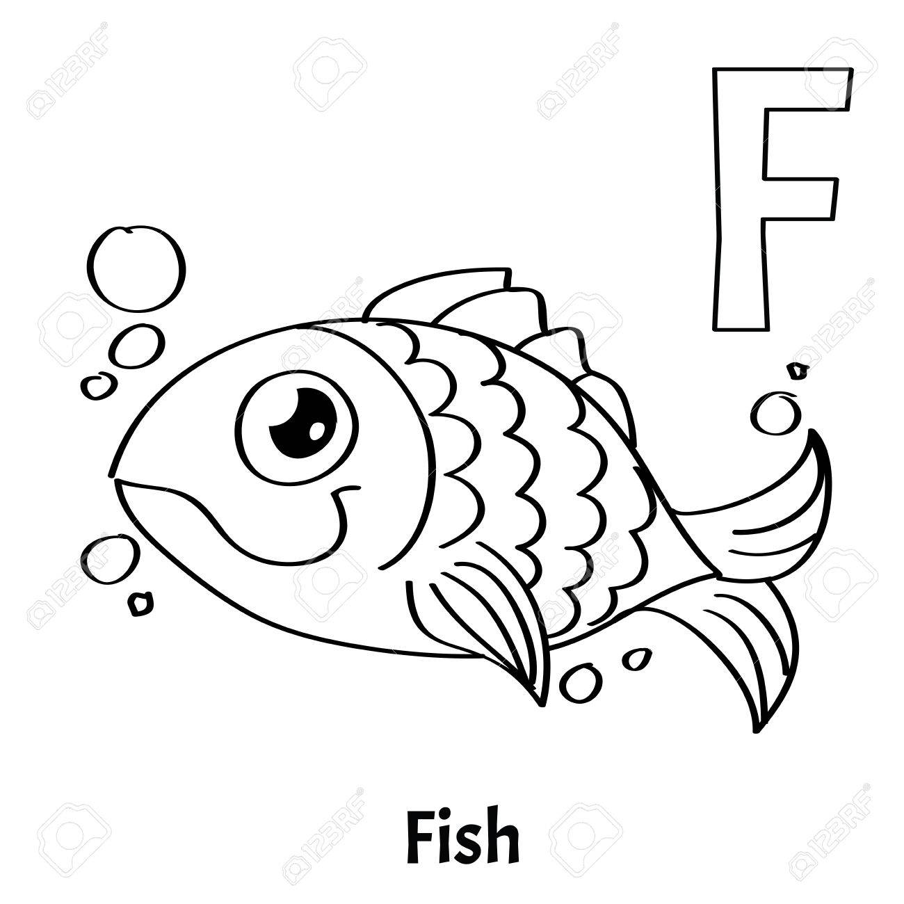 vector alphabet letter coloring fish royalty free vectors and stock illustration image coloring pages Letter F Coloring Page