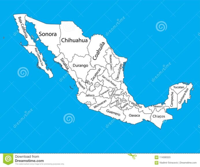 administrative divisions of counties separated provinces map stock illustration federal coloring pages Free Printable Map Of Mexico