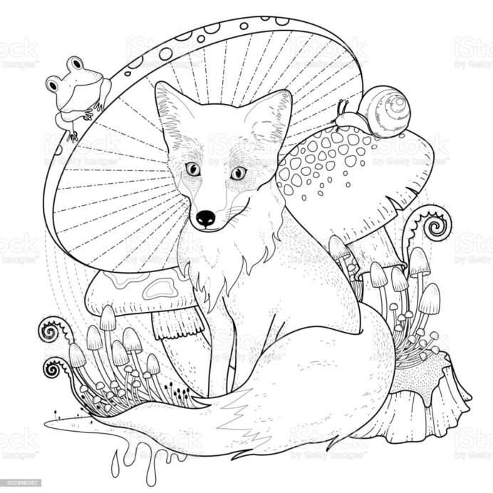 adorable fox coloring stock illustration image now carpet hawaiian tiki mask free truck coloring pages Coloring Page Fox