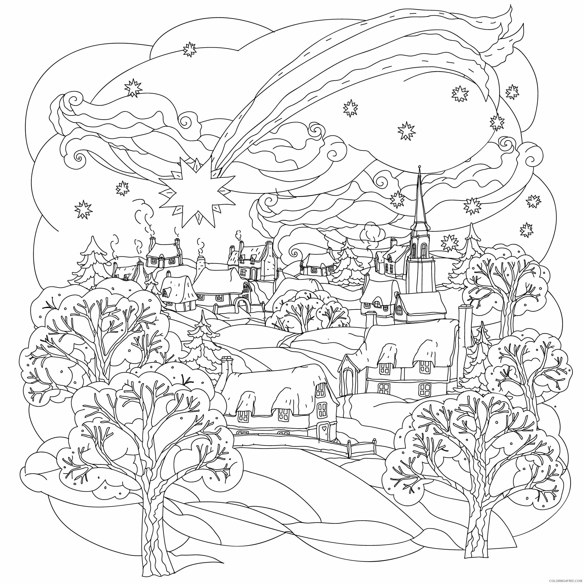 adult christmas coloring winter scene for adults coloring4free universal crayola rainbow coloring pages Winter Scene Coloring Page