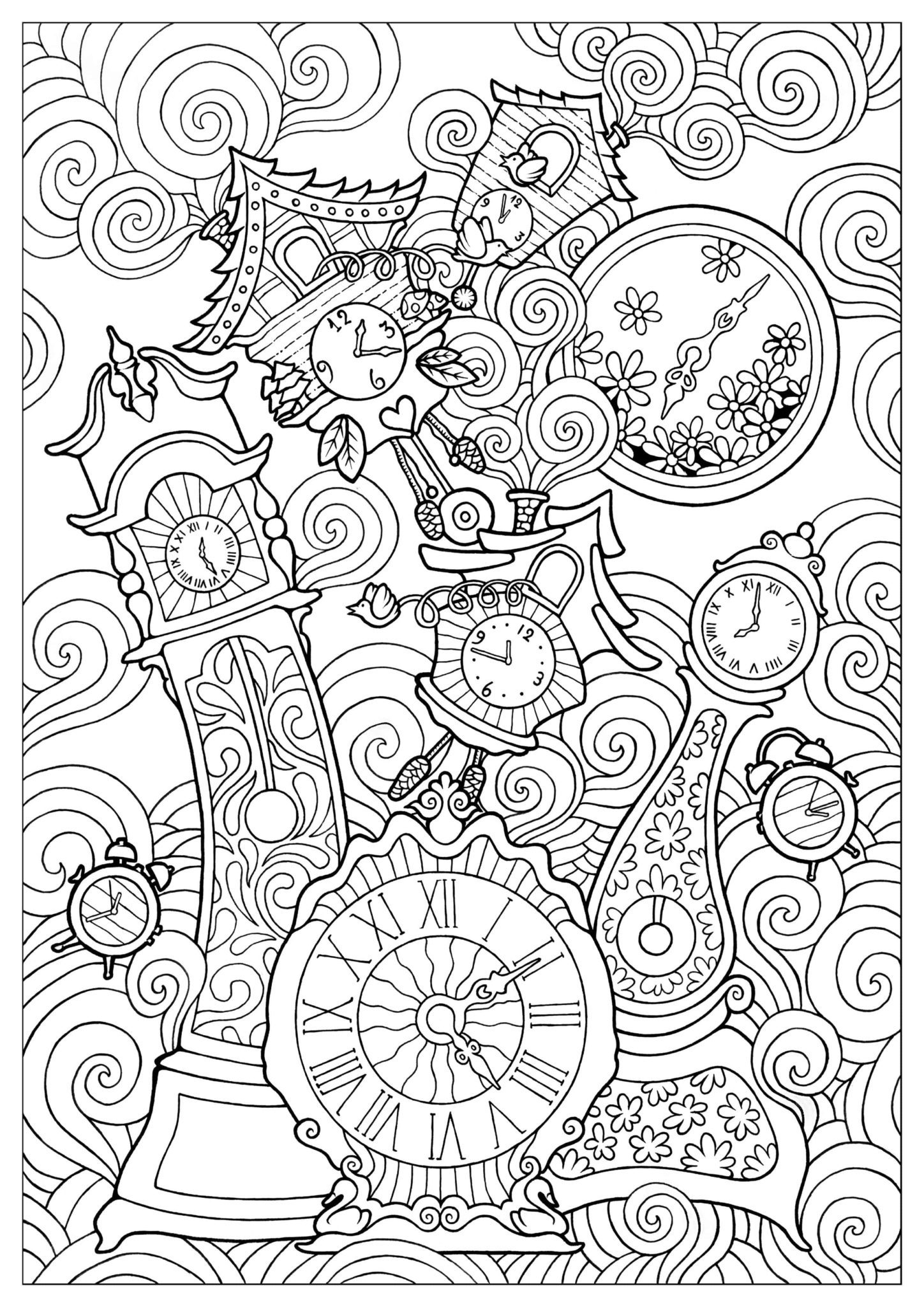 adult coloring that are printable and fun happier human free justcolor quirky clocks coloring pages Free Adult Coloring Page