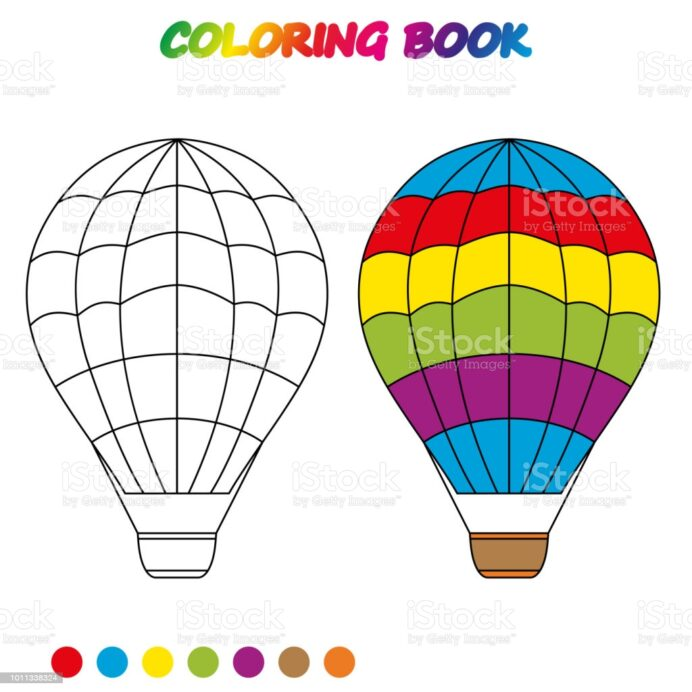 air balloon coloring worksheet game for kids book vector illustration stock image now coloring pages Balloon Coloring Page