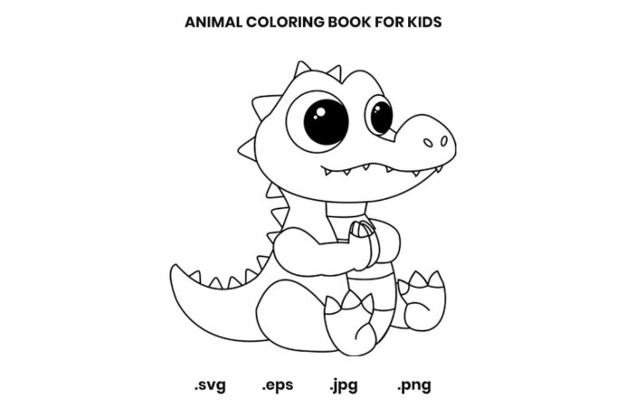 alligator coloring book for kids graphic by doridodesign creative fabrica graphics hamd coloring pages Alligator Coloring Page