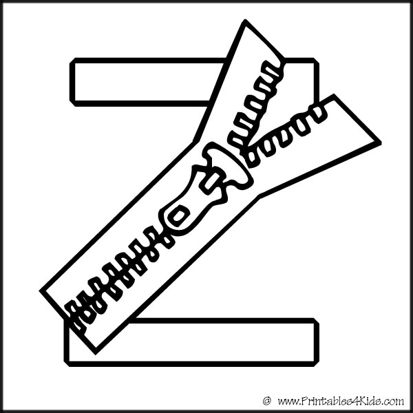 alphabet coloring letter zipper printables for kids free word search puzzles and other coloring pages Zipper Coloring Page
