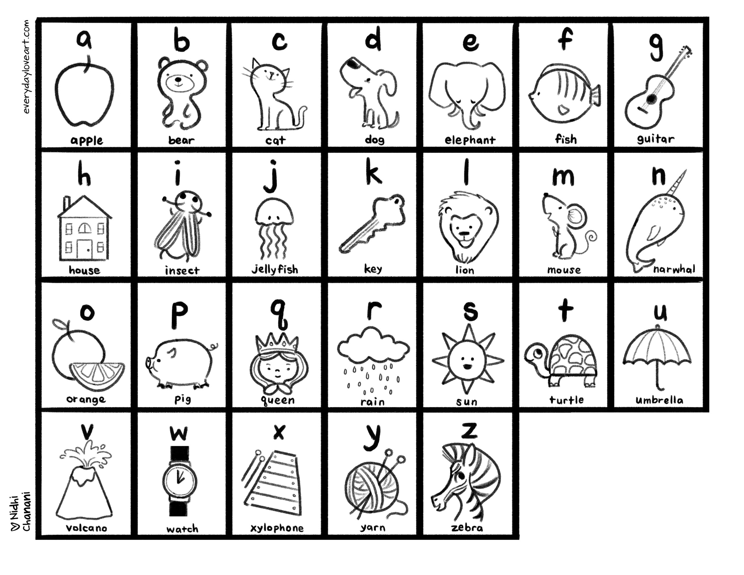 alphabet coloring sheet everyday art the of nidhi chanani alpha scaled painting set easel coloring pages Alphabet Coloring Page