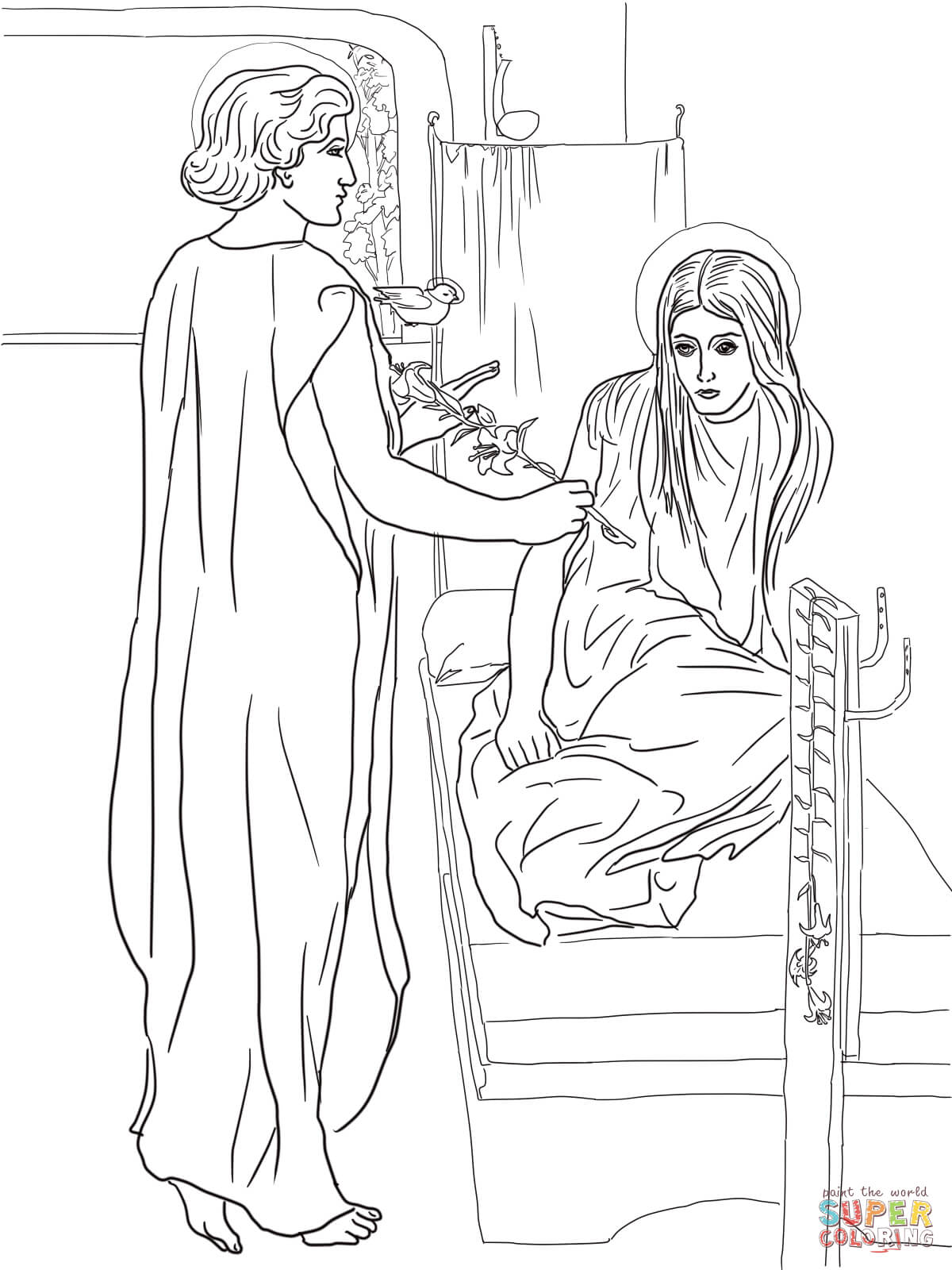 angel gabriel visits mary coloring free printable home di6aazb4t leaf man lesson plan coloring pages Angel Visits Mary Coloring Page
