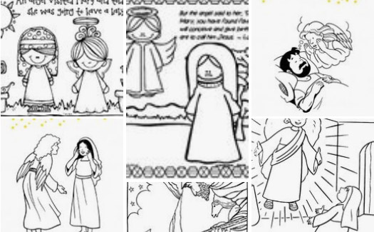 angel visits mary and joseph coloring sundayschoolist quick drying paints shading markers coloring pages Angel Visits Mary Coloring Page