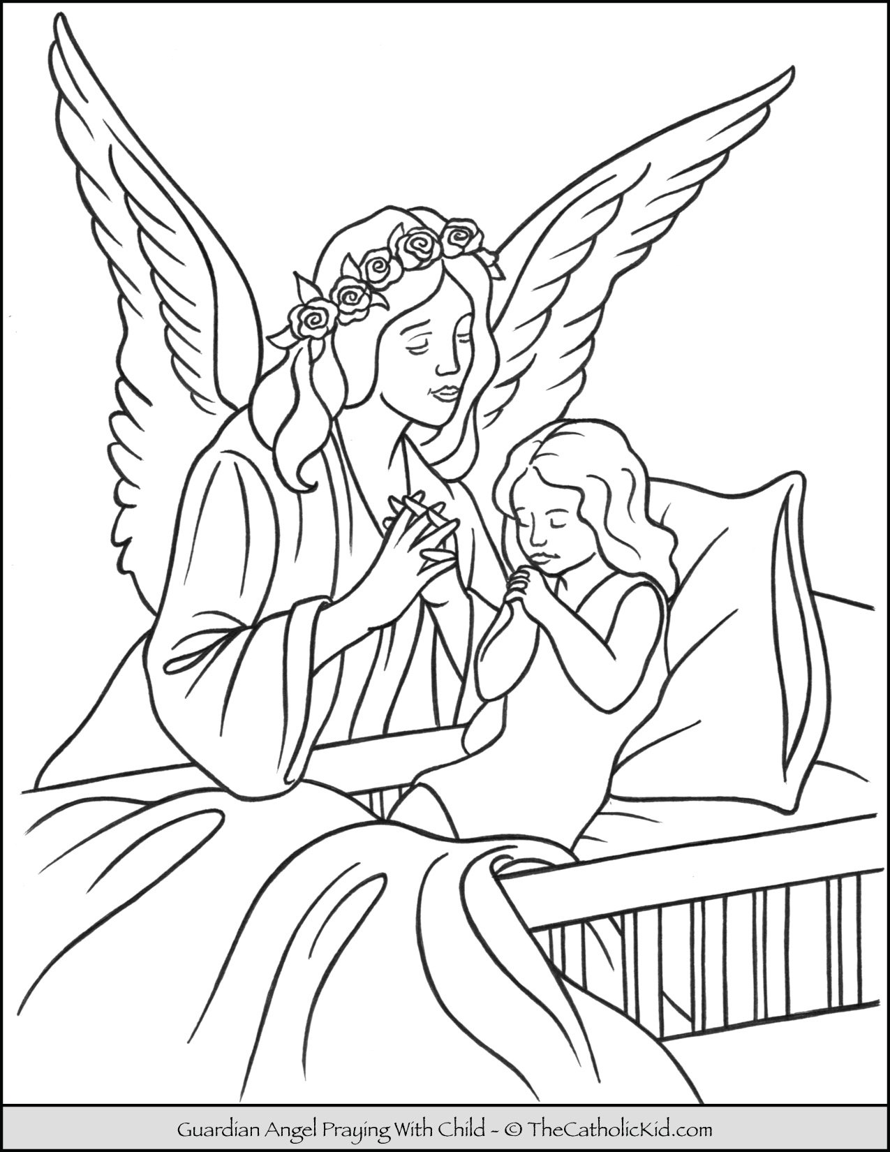 angels archives the catholic kid coloring and games for children guardian angel child coloring pages Guardian Angel Coloring Page