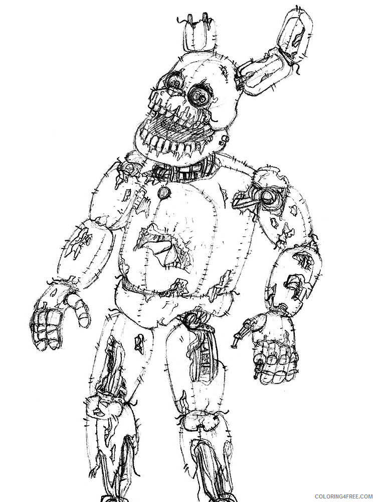 animatronics coloring cartoons springtrap printable coloring4free teachers school coloring pages Springtrap Coloring Page