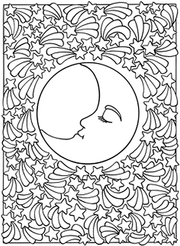 art therapy coloring moon sun stars falling night sky coloriage adultes astres for bffs coloring pages Night Sky Coloring Page