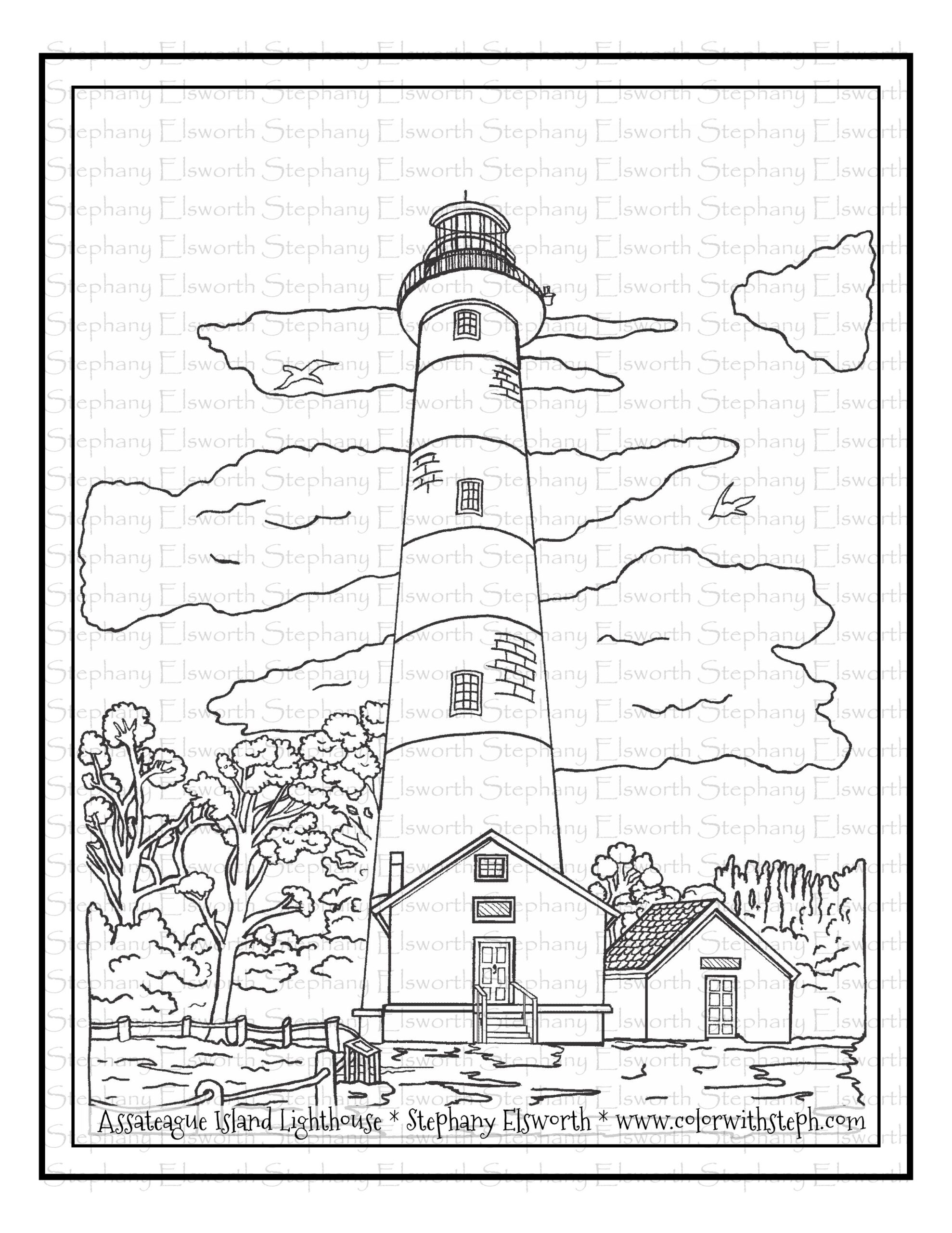 assateague lighthouse free coloring color with steph wm washable fabric markers kid coloring pages Lighthouse Coloring Page