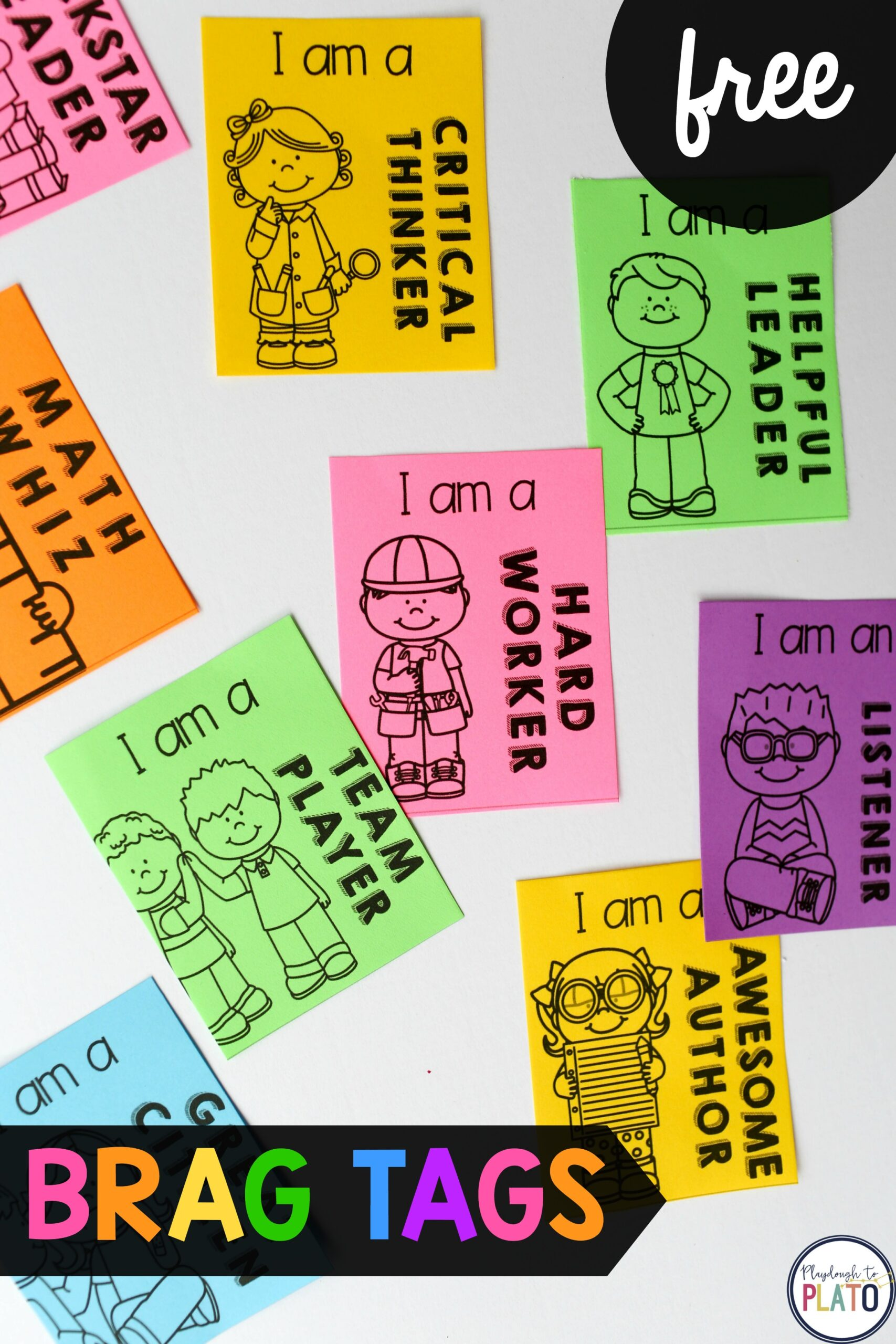 astrobrights brag tags playdough to plato free printable for kids rusty oranfe colors coloring pages Free Printable Brag Tags