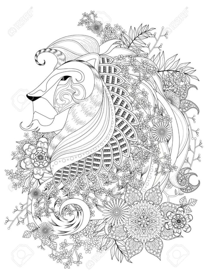 attractive lion adult coloring with floral element royalty free vectors and stock coloring pages Lion Adult Coloring Page