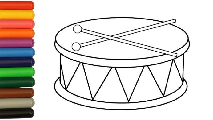 baby music toys drum coloring book with coloured markers drums olaf pictures from frozen coloring pages Drums Coloring Page