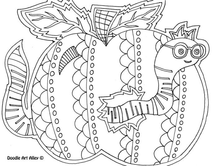 back to school coloring printables classroom doodles middle wormapple orig free november coloring pages Middle School Coloring Page