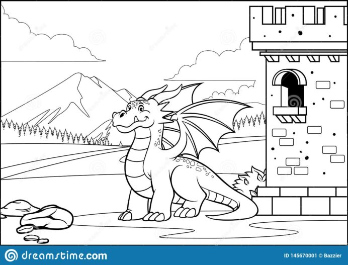 balck and coloring dragon in the castle with style stock vector illustration of book coloring pages Coloring Page Dragon