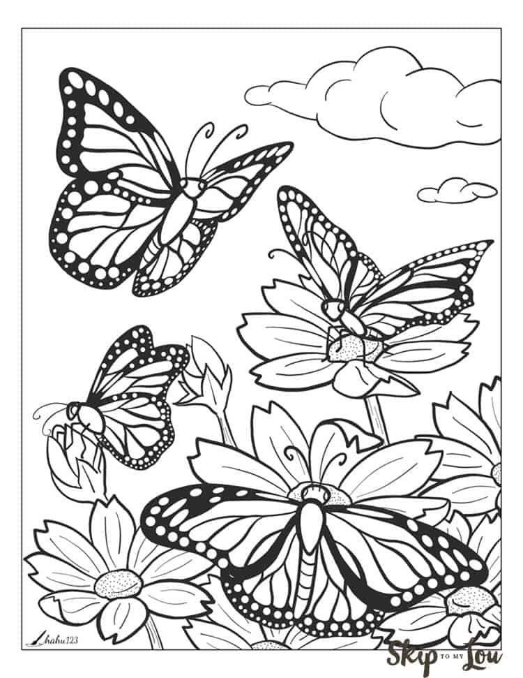 beautiful butterfly coloring skip to my lou full sheet easter sheets free teacher coloring pages Full Page Coloring Pages