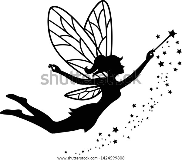 beautiful fairy silhouette vector template stock royalty free printable silhouettes 600w coloring pages Free Printable Fairy Silhouettes