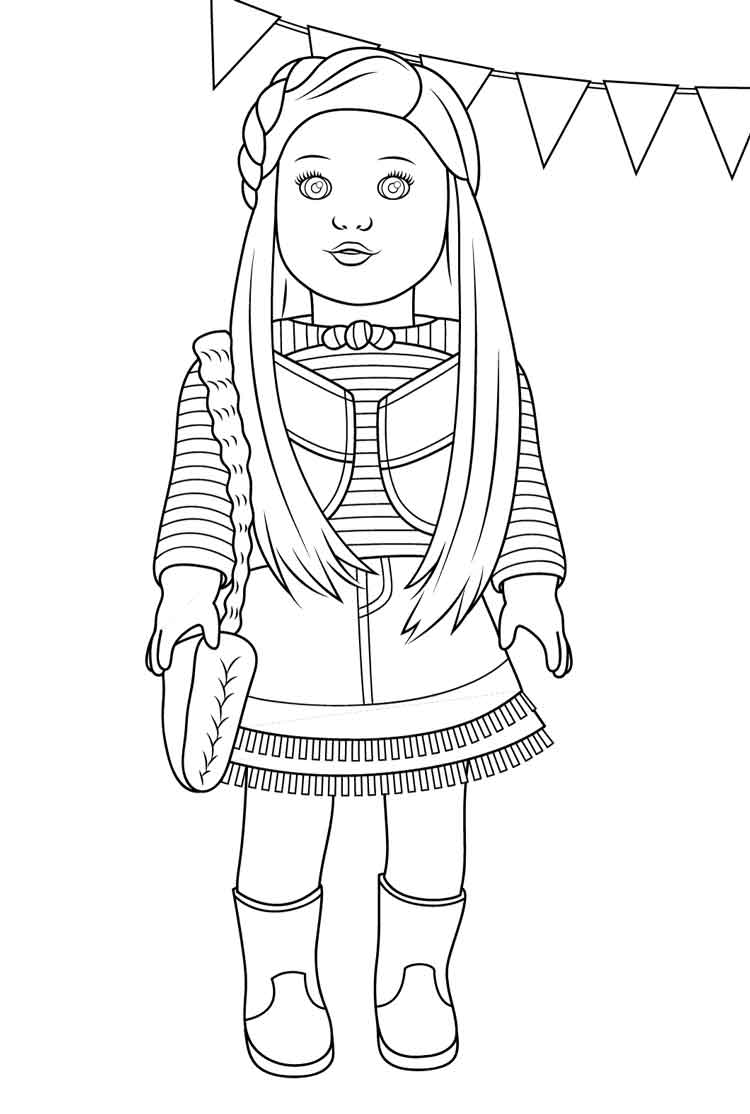 best free printable girl doll coloring for kids steamboat plans dragon sneeze pumpkin coloring pages American Girl Coloring Page