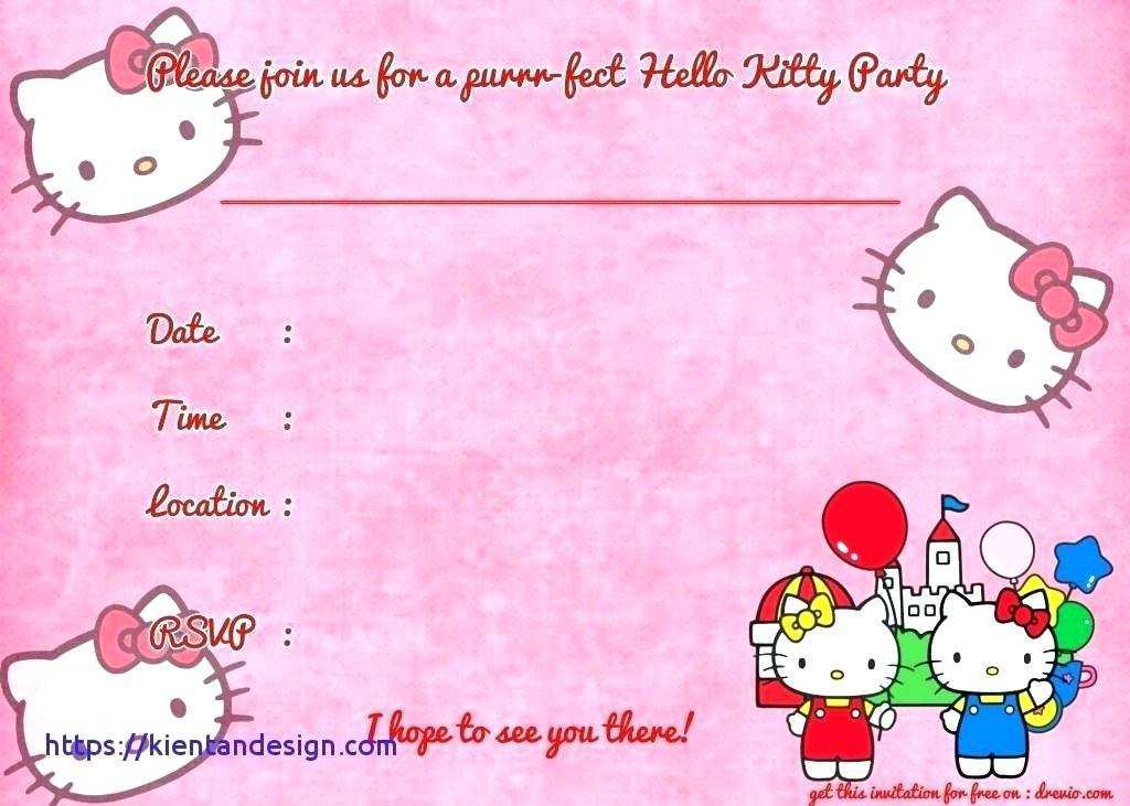 best hello kitty birthday invitation card template free file for cards design templates coloring pages Hello Kitty Birthday Invitations Free Printable